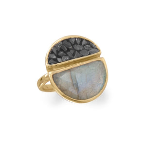 14 Karat Gold Plated Labradorite and Diamond Chips Ring - Cece & Me - Home and Gifts