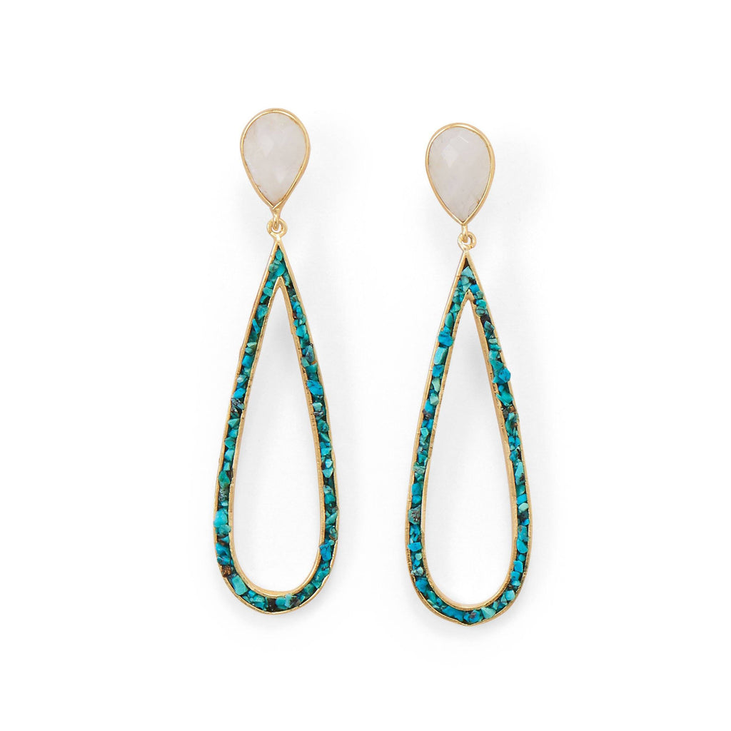 14 Karat Gold Plated Rainbow Moonstone and Turquoise Chip Post Earrings - Cece & Me - Home and Gifts