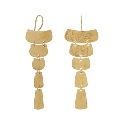 14 Karat Gold Plated Textured Cascading Plate Earrings - Cece & Me - Home and Gifts