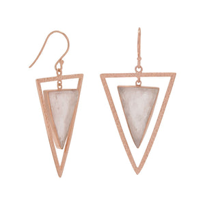 14 Karat Rose Gold Plated Rose Quartz Triangle Earrings - Cece & Me - Home and Gifts