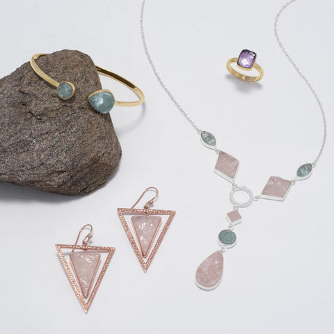 Image of 14 Karat Rose Gold Plated Rose Quartz Triangle Earrings - Cece & Me - Home and Gifts