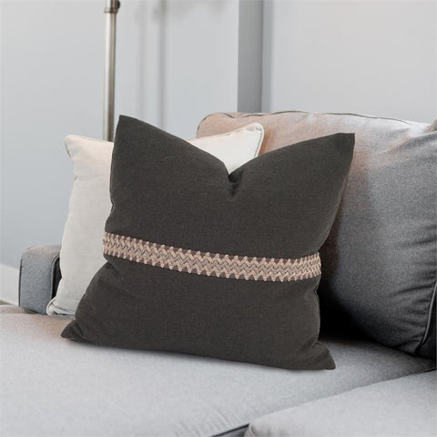 Seascape Pillow w/ Deco Trim ~ Charcoal