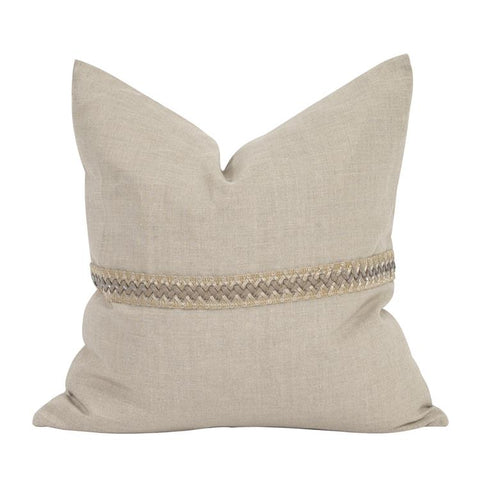 Seascape Pillow w/ Deco Trim ~ Linen