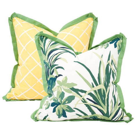 Bermuda Bay Daffodil Pillow ~ Green & Yellow - Cece & Me - Home and Gifts