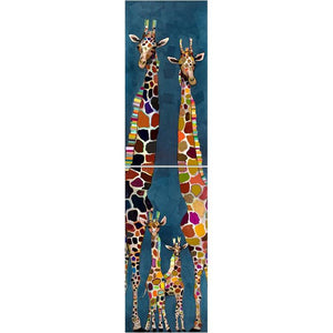 Giraffe family of four Diptych ~ Giclee Canvas - Cece & Me - Home and Gifts