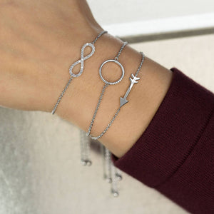 Rhodium Plated Arrow Friendship Bolo Bracelet - Cece & Me - Home and Gifts
