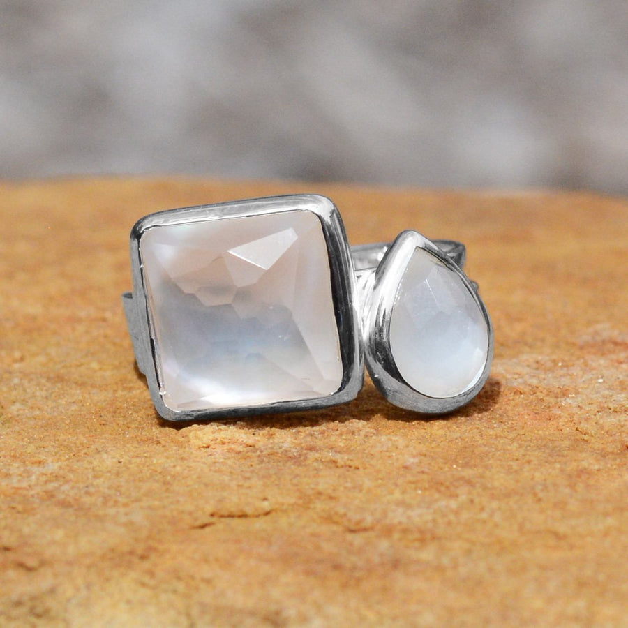 Large Square Freeform Faceted Clear Quartz over Mother of Pearl Stackable Ring
