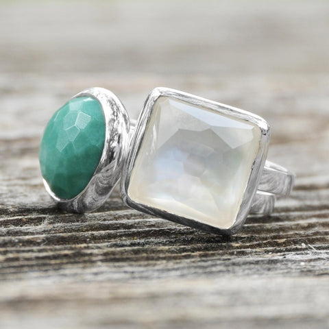 Image of Large Square Freeform Faceted Clear Quartz over Mother of Pearl Stackable Ring - Cece & Me - Home and Gifts