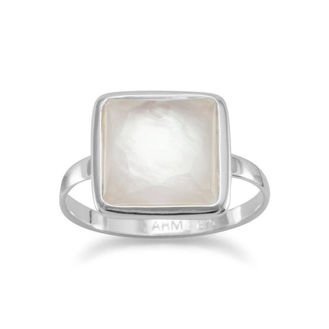 Large Square Freeform Faceted Clear Quartz over Mother of Pearl Stackable Ring - Cece & Me - Home and Gifts