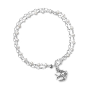 Double Strand Bracelet with Cultured Freshwater Pearls and Bird Charm - Cece & Me - Home and Gifts
