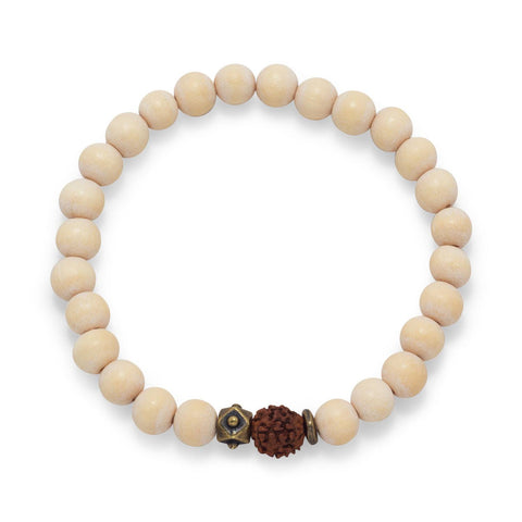 Image of White Wood Bead Stretch Fashion Bracelet - Cece & Me - Home and Gifts
