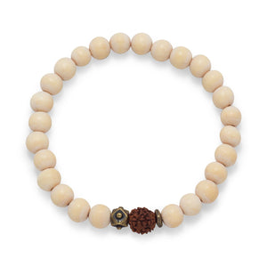 White Wood Bead Stretch Fashion Bracelet - Cece & Me - Home and Gifts