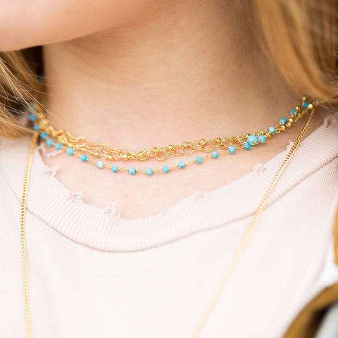 Image of Triple Strand Gold Tone Multistone Necklace - Cece & Me - Home and Gifts