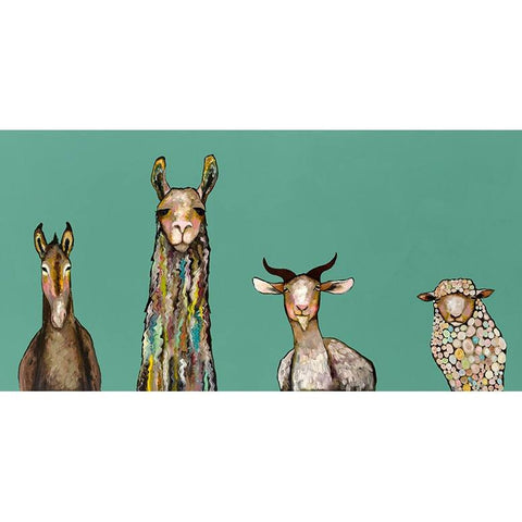 Image of Donkey, Llama, Goat, Sheep Giclee Canvas ~ Teal - Cece & Me - Home and Gifts