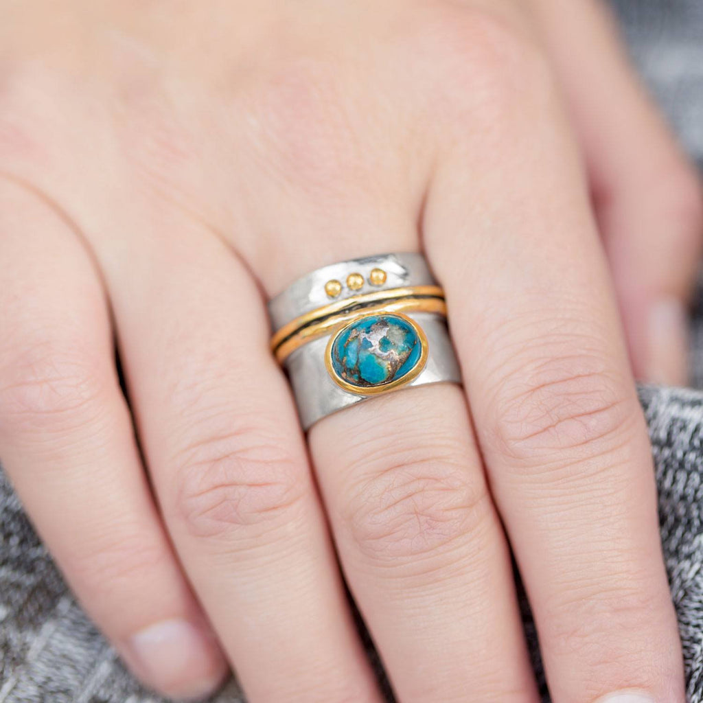 Two Tone Stabilized Turquoise Ring - Cece & Me - Home and Gifts