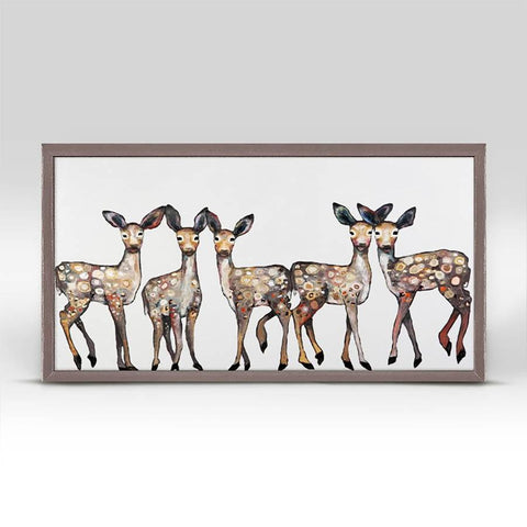 "5 Dancing Fawns ~ Mini Framed Canvas 10""x5"" - Cece & Me - Home and Gifts"