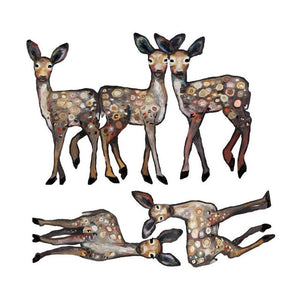 5 Dancing Fawns Wall Decal Cut-Outs
