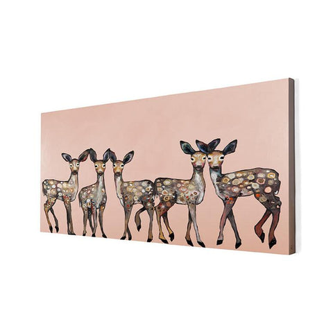 5 Dancing Fawns Wall Art ~ Coral - Cece & Me - Home and Gifts