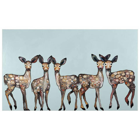 5 Dancing Fawns On Ice Blue Wall Art - Cece & Me - Home and Gifts