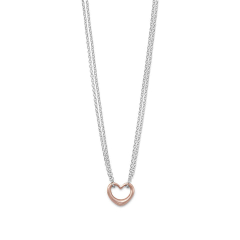 Two Tone Double Stand Open Heart Necklace - Cece & Me - Home and Gifts