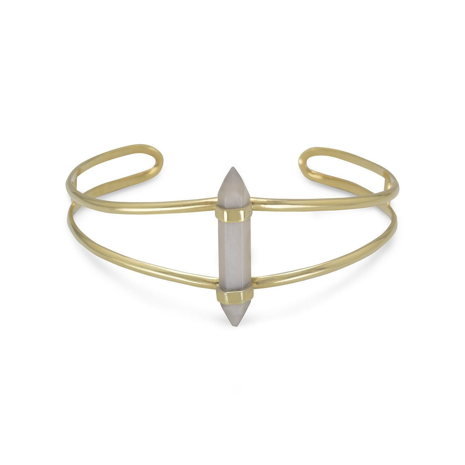 14 Karat Gold Plated Split Cuff with Gray Moonstone Spike - Cece & Me - Home and Gifts