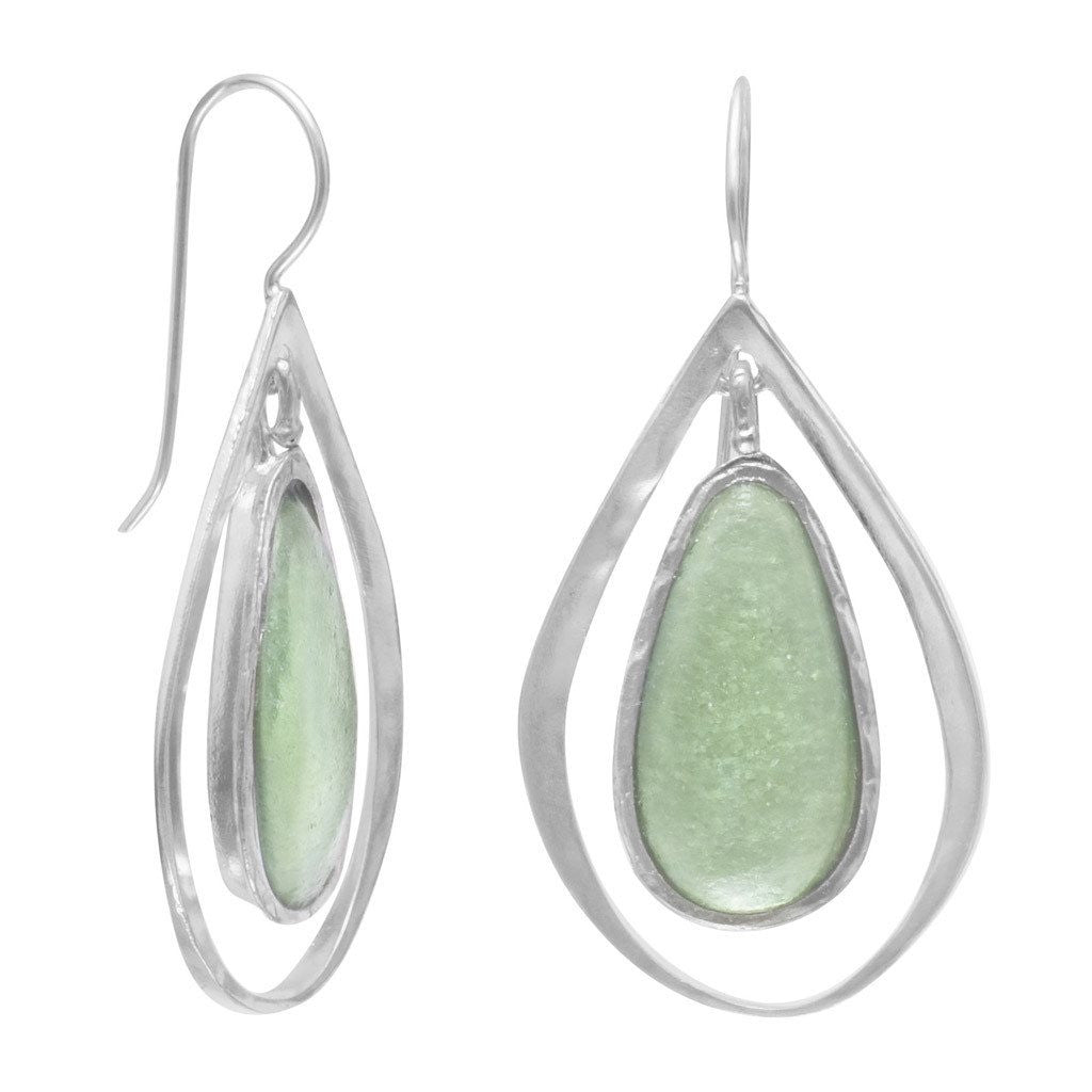 Ancient Roman Glass and Cut Out Design Earrings on French Wire - Cece & Me - Home and Gifts