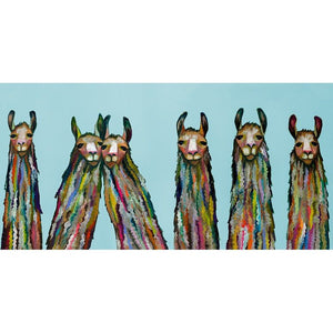 Six Lively Llamas on Sky Blue ~ Framed Giclee Canvas - Cece & Me - Home and Gifts