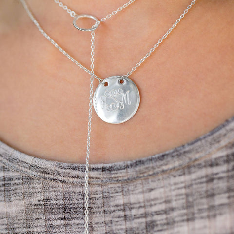 Image of Polished Round Engravable Disk Necklace - Cece & Me - Home and Gifts