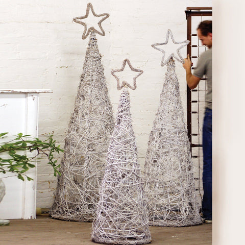 Whitewash Giant Iron Twig Topiaries With Star Finials (Set of 3) - Cece & Me - Home and Gifts