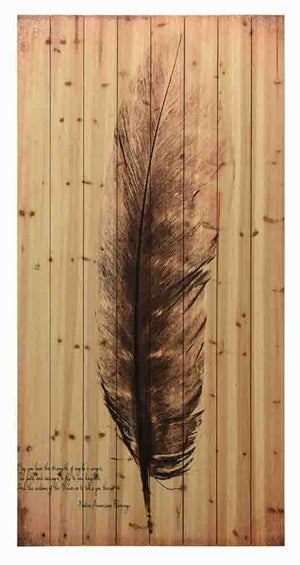 Feather on the Wind I ~ Solid Fir Wood Planks - Cece & Me - Home and Gifts