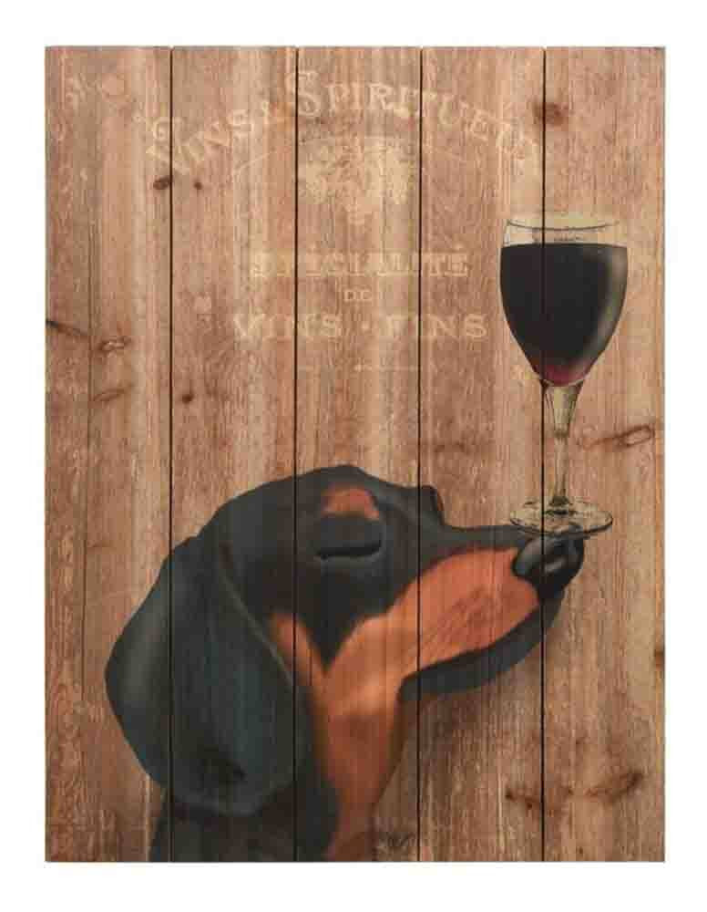 Dog Au Vin Dachshund ~ Solid Fir Wood Planks - Cece & Me - Home and Gifts