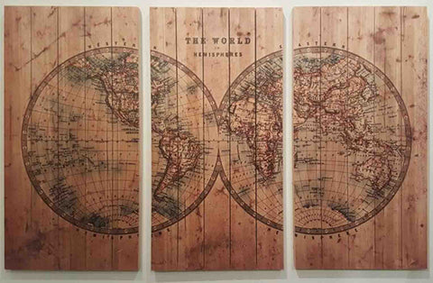 Cartography ~ Solid Fir Wood Planks - Cece & Me - Home and Gifts