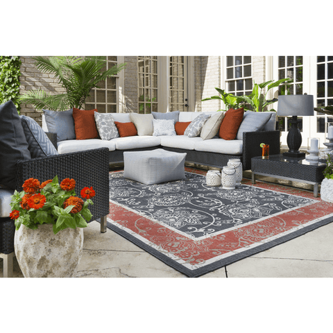 Alfresco Outdoor Rug III ~ Black/Rust/Cream/Camel - Cece & Me - Home and Gifts