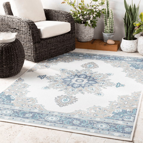New Alfresco Outdoor Rug ~ Taupe/Aqua/White - Cece & Me - Home and Gifts