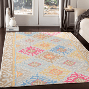 Antigua Rug ~ Bright Pink/Mint/Bright Blue