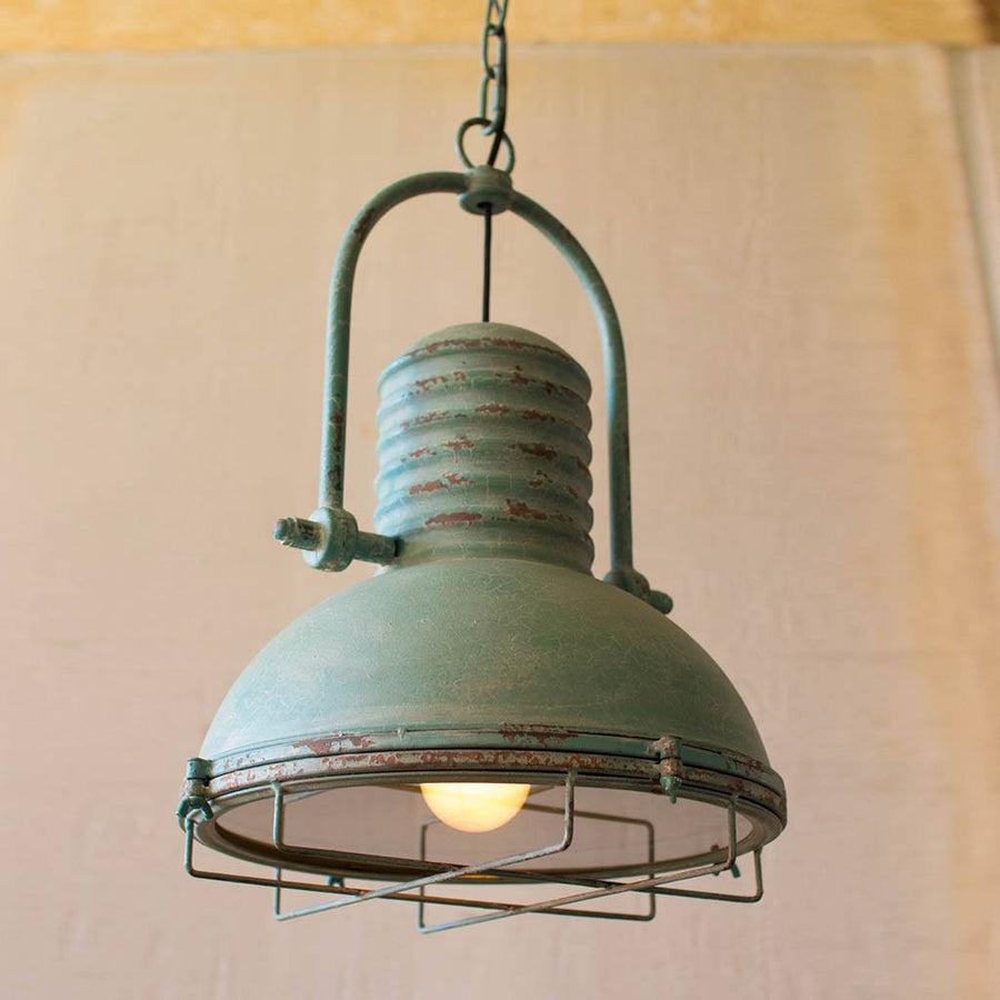 Antique Pendant Light With Glass and Wire Cage ~ Turquoise - Cece & Me - Home and Gifts