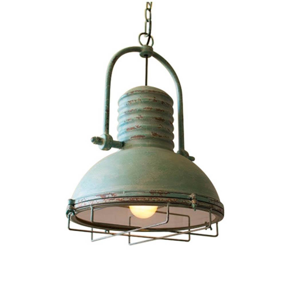 Antique Pendant Light With Glass and Wire Cage ~ Turquoise