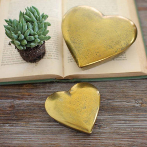 Image of Cast Aluminum Heart Boxes (Set of 2) ~ Antique Gold - Cece & Me - Home and Gifts
