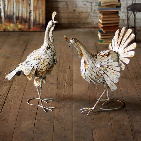 Antique White Metal Turkeys (Set of 2) - Cece & Me - Home and Gifts