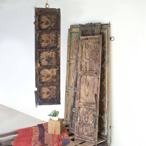 Image of Antique Wooden Door Panel Wall Art - Assorted Designs - Cece & Me - Home and Gifts