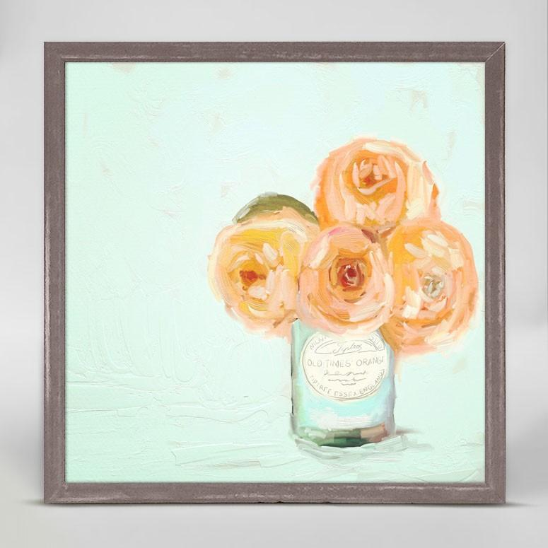 Apricot Roses Mini Framed Canvas - Cece & Me - Home and Gifts