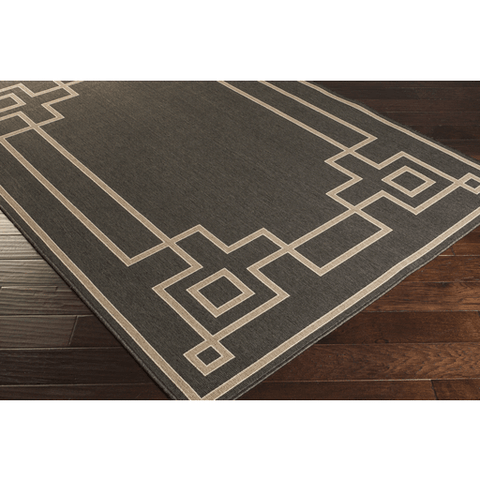 Image of Ardy Outdoor Rug ~ Black/Camel/Cream - Cece & Me - Home and Gifts