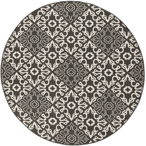 Image of Areles Outdoor Rug ~ Black & Cream - Cece & Me - Home and Gifts