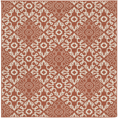 Image of Areles Outdoor Rug ~ Rust & Cream - Cece & Me - Home and Gifts