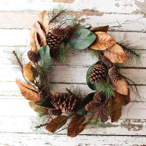 Artificial Magnolia & Pine Wreath (Set of 2) - Cece & Me - Home and Gifts