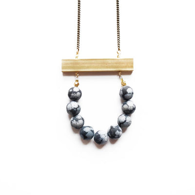 Au Courant Necklace ~ Snowflake Obsidian - Cece & Me - Home and Gifts