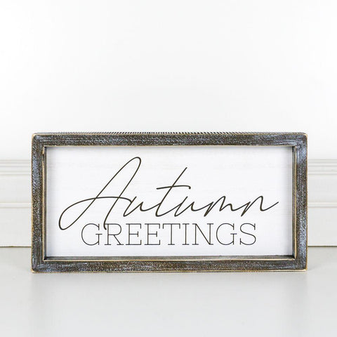 Autumn Greetings Wood-Framed Sign - Cece & Me - Home and Gifts