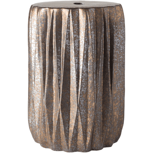 Aynor Stool ~ Dark Brown/Silver/Metallic/Gold - Cece & Me - Home and Gifts