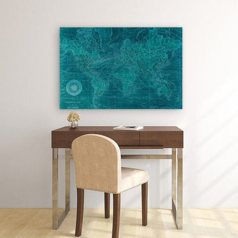 Azure World Map ~ Tempered Art Glass - Cece & Me - Home and Gifts