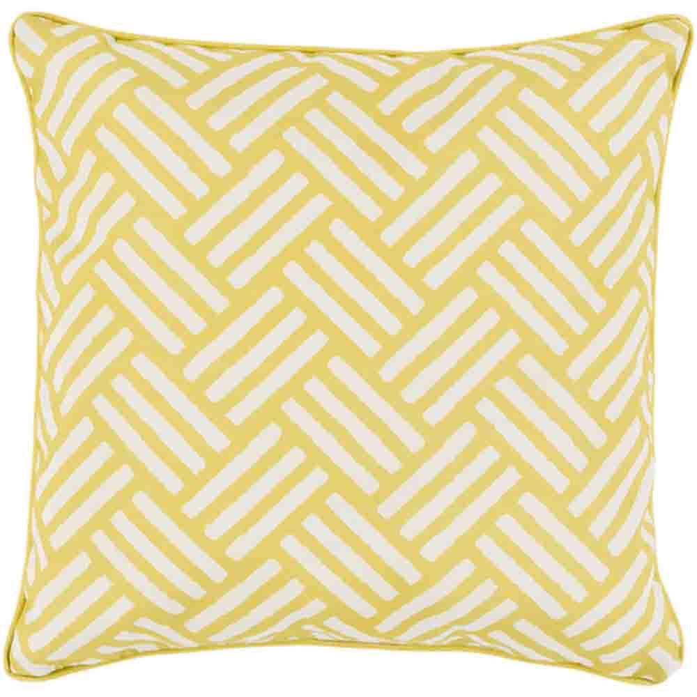 Basketweave Outdoor Pillow Bright Yellow